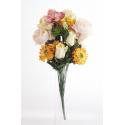 Bouquet Pivoine Orchidée Pèche H35cm