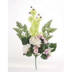 Bouquet Vertical Orchidée Rose Vert H45cm