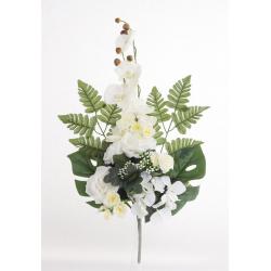 Bouquet Vertical Orchidée Rose Crème H45cm