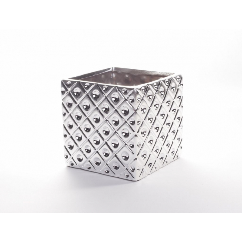 Cache Pot Carré Alu 10.5 x 10.5 x h 10.2 cm