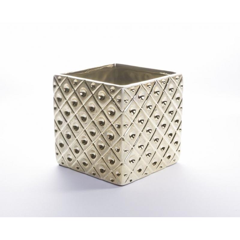 Cache Pot Carré Or 10.5 x 10.5 x h 10.2 cm