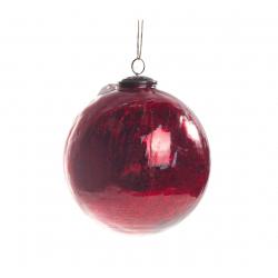 Boule Noël Craquelée Rouge d 12 cm