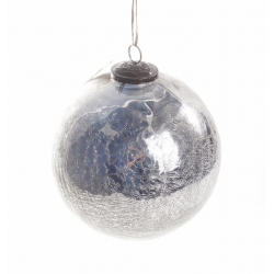 Boule Noël Craquelée Argent d 15cm