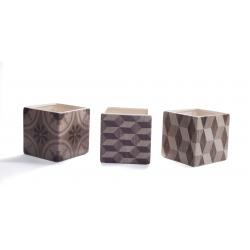 ISO - Cache Pot Céramique Carré Motif Géo Assortis D12 x H12 cm par 3