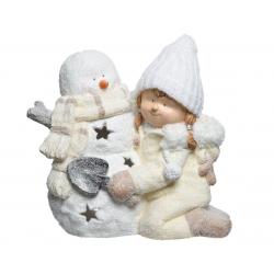 Bonhomme de Neige et Petite Fille H43 cm