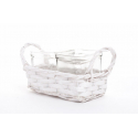CHIP - Vannerie Rectangle Blanche avec 2 pots Verre L18 x P9 x H11 cm