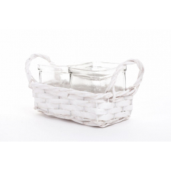 CHIP - Vannerie Rectangle Blanche avec 2 pots Verre L18 x P9 x H11 cm