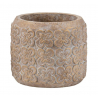 LOVIT - Cache Pot Ciment Brun Or D19.5 x H17 cm