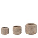LOVIT - Cache Pot Ciment Brun Or D19.5 x H17 cm