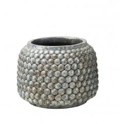 ANTIK - Cache Pot Ciment Goutte Gris Argent D19 x H14 cm