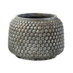 ANTIK - Cache Pot Ciment Goutte Gris Argent D24 x H18 cm