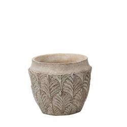 AMITO - Cache Pot Ciment Feuilles Crème D16 x H14 cm