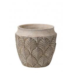 AMITO - Cache Pot Ciment Feuilles Crème D18.5 x H17 cm