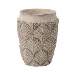 AMITO - Vase Ciment Feuilles Crème D14 x H18 cm