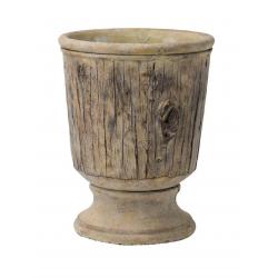 ATLAS - Vase Ciment Bois Crème D14 x H19.5 cm