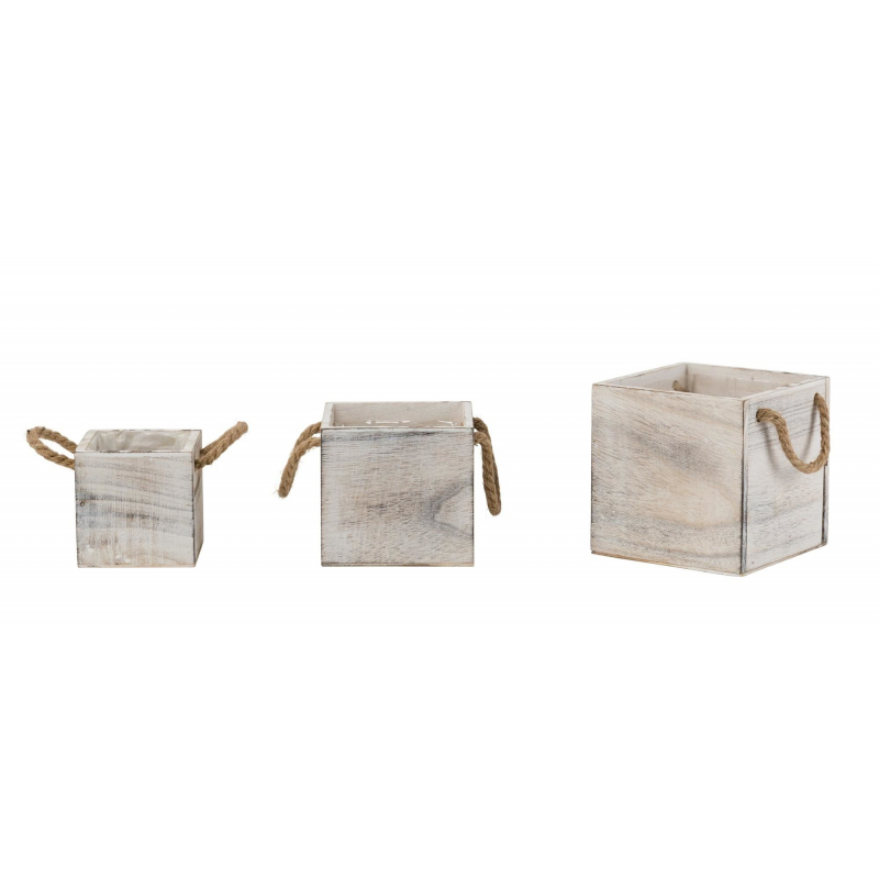 HENKEL - Cube Bois Blanchi Cordes L11/13/15 x H11/13/15 cm set de 3