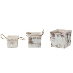 STERN - Cube Bois Blanchi Etoiles L13/16/19 x H13/16/18 cm set de 3