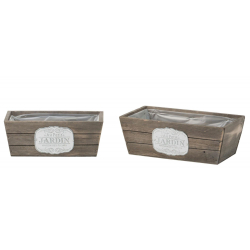 JARD - Jardinière Bois Blanchi  L26/30 x H10/11cm set de 2