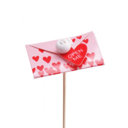 Pique Carte Coeur Rouge / Rose H50 cm par 25