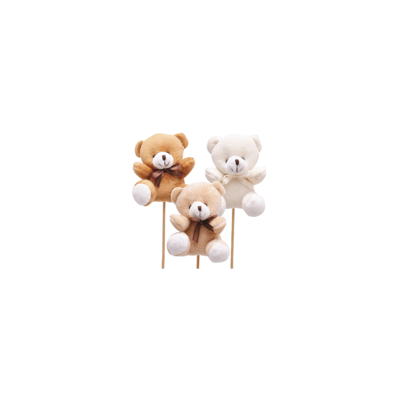 Pique Oursons Assortis Blanc Beige Marron D8 x H50 cm par 25