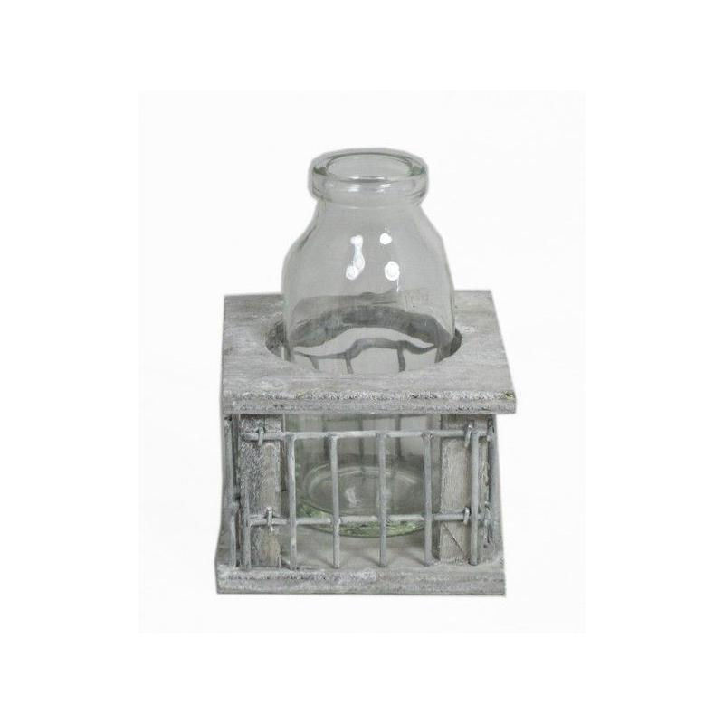 Bois avec fer carré 1 bouteille D8 H11cm