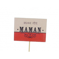MUM - Pique Rectangle Bonne Fête Maman D8 x 21 cm par 12