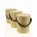 BOX - Boite Chapeau  Kraft D24/23/21 x H30/28/26 cm par 3