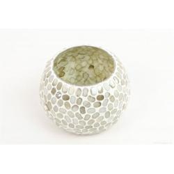 DATUR - Vase Verre Mosaique Blanc D8 x H8 cm