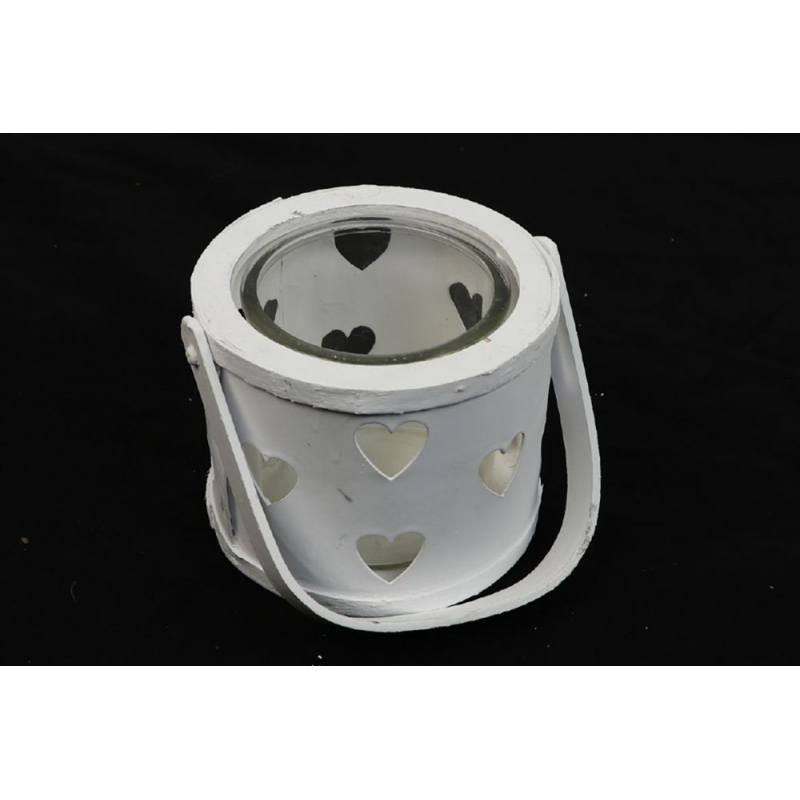 RONDO - Lanterne Bois Blanc Coeur D13.5 H 12 cm