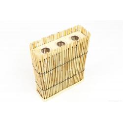 CANNE - Conenant Bambou Canne Naturel et 3 Tubes Verre L19 x H23 cm