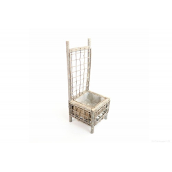 CHAIR - Chaise Bois Blanchi  et Contenant Zinc D24 x H70 cm