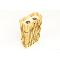 CANNE - Conenant Bambou Canne Naturel et 2 Tubes Verre L13 x H23 cm