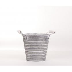 STRIPE - Cache pot Zinc rayé D15 x H15 cm