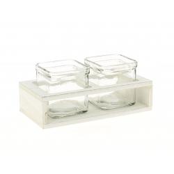 KUB - Pots en verre par 2 et Support Bois Blanc L7,5 x H7,5 cm