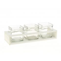 KUB - Verre par 3 et Support Bois Blanc l29.5x L7,5 x H7,5 cm