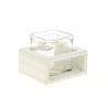 KUB - Pot en verre et Support Bois Blanc L7,5 x H7,5 cm