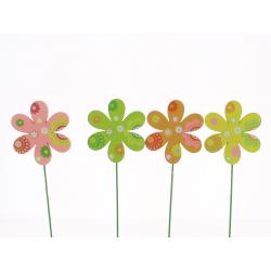 AVRIL - Pique Fleur Bois 4 Couleurs D7 x H27 cm Par 12
