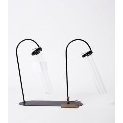 BEC - Support fer Noir et 2 Tubes Verre D20 x H21 cm