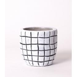 KARI - Cache Pot Blanc Rayures Noires D8 x H7.5 cm