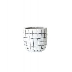 KARI - Cache Pot Blanc Rayures Noires D11.5 x H11 cm