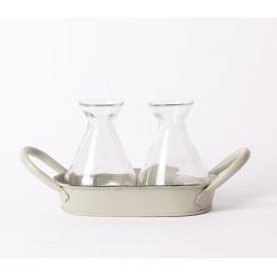 BASIN -Bassine Zinc Vert Olive 2 bouteilles L16 x H11 cm
