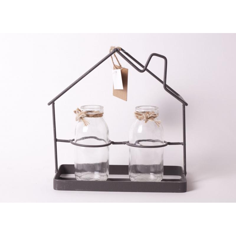 ESTATE - Maison Fer Noir avec 2 Bouteilles Verre L18 x H19 cm