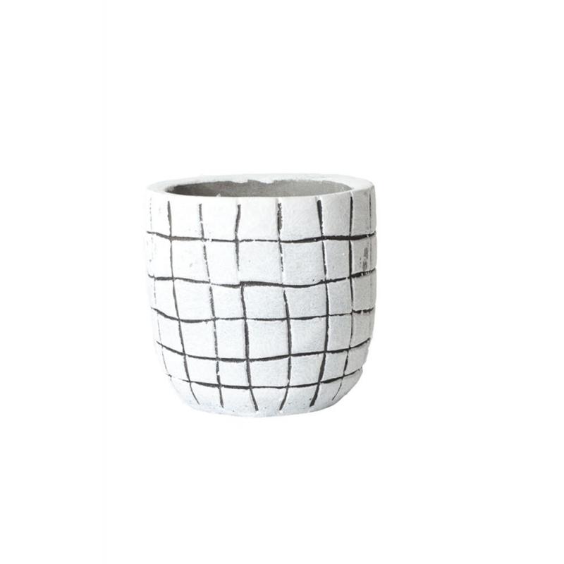 KARI - Cache Pot Blanc Rayures Noires D14 x H13 cm