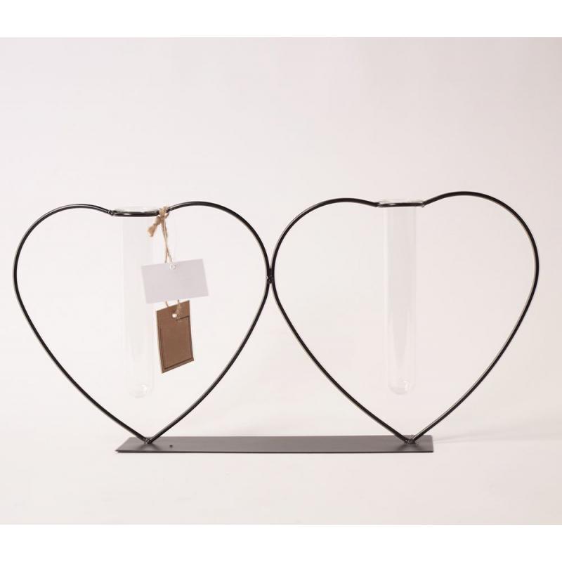 CHIC - Support Fer Noir Coeur et 2 Tubes Verre D40.5 x H 19.5 cm