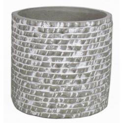 AIRES - Cache Pot Céramique Ciment Motifs d13 x h13 cm