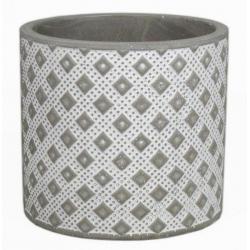 CRUZ - Cache Pot Céramique Ciment Motifs d13 x h13 cm