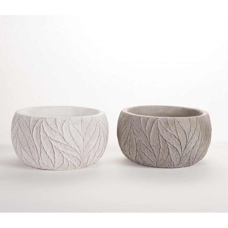 ADRA - Vase Ciment Ass.Gris et blanc L16.5 x P16.5 x H9 cm par 2