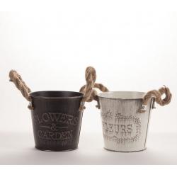 GARDEN - Pot Zinc Ass.Noir et blanc D12.5 x H11 cm par 2
