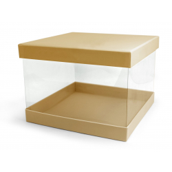 PANDORE - Box carrée Kraft/Transparent Naturel L18 x P18 x H13 par 2