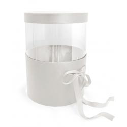 PANDORE - Box ronde Kraft/Transparent Blanc H25.5 x D21 cm par 2